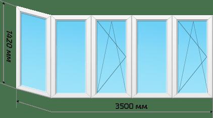 Окна 4 створки 1 эркер